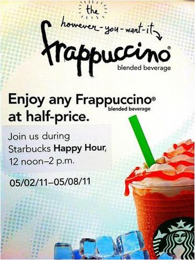 50% Off Starbucks Frappuccino